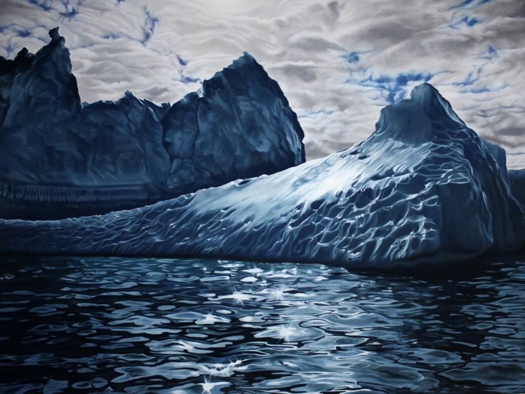 Zaria forman dipinge in maniera realistica i ghiacci artici per denunciare il cambiamento climatico.